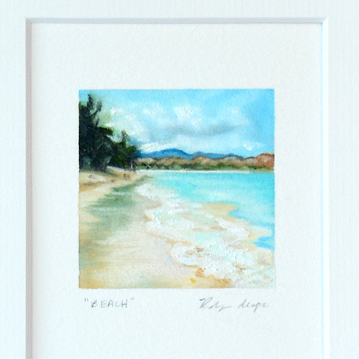 #prettysmallthings, landscape painting on paper, hawaii, beach